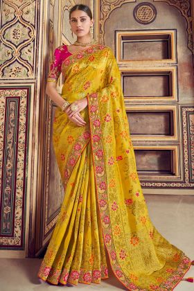Tathastu Woven Work Traditional Yellow Saree For Women