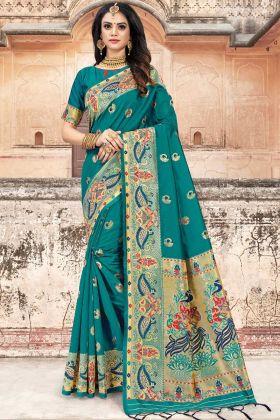 Teal Blue Art Silk Traditional Saree Design