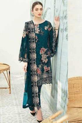 Teal Blue Color Heavy Georgette Pakistani Style Party Wear Suit