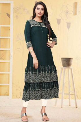 Teal Blue Color Rayon Flex Readymade Kurti