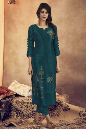 Teal Blue Color Readymade Pair Of Kurti With Bottom