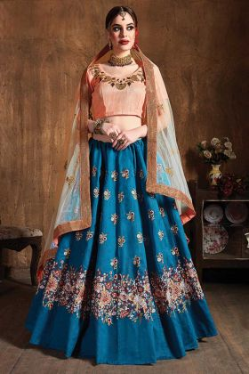 Teal Blue Color Wedding Embroidery Designer Raw Silk Lehenga