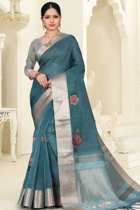 Teal Blue Festival Wear Orgenza Saree