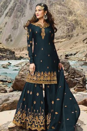 Teal Blue Georgette Sharara Design