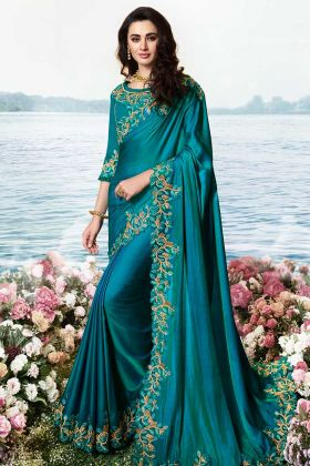 Teal Blue Party Wear Saree Barfi Silk Fabric With Blouse