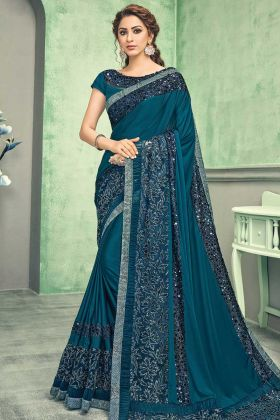 Teal Blue Party Wear Sequins Embroidery Saree