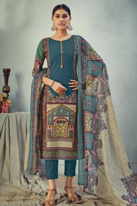 Teal Blue Pure Cambric Cotton Salwar Suit Online