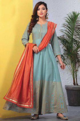 Teal Blue Readymade Kurti With Dupatta In Heavy Reyon