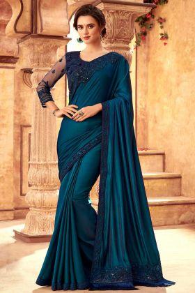 Teal Blue Sabya Silk Designer Fancy Saree