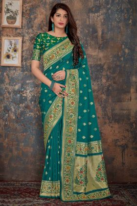 Teal Blue Silk Banarasi Saree