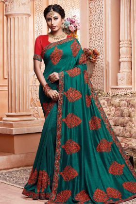 Teal Blue Vichitra Silk Embroidery Saree