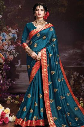 Teal Blue Vichitra Silk Wedding Saree For Women
