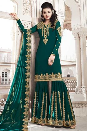 Teal Green Georgette Sharara Suit Design For Girls