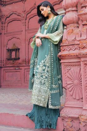 Teal Green Party Wear Georgette Pakistani Style Suit