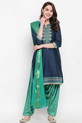 Teal Blue Chanderi Silk Punjabi Suit For Girls