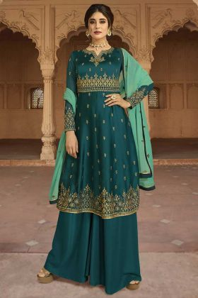 Teal Blue Color Georgette Satin Palazzo Salwar Suit With Resham Embroidery Work