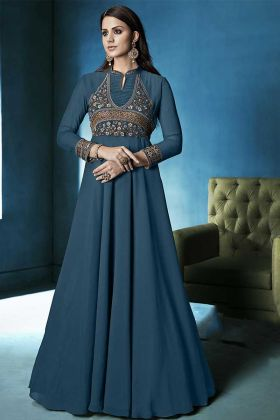 Teal Blue Color Lichi Georgette Gown Style Anarkali Suit With Heavy Embroidery Work