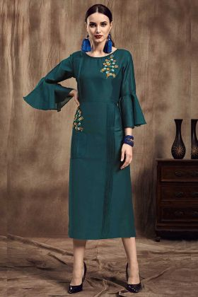 Teal Blue Color Muslin Party Wear Kurti With Flaired  Sleeve
