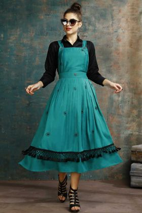 Teal Blue Dress And Black Color Kurti Cotton Fabric