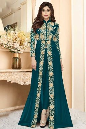 Teal Blue Georgette Front Open Anarkali Style Suit
