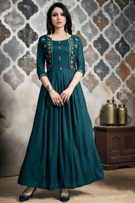 Teal Blue Khadi Cotton Kurti