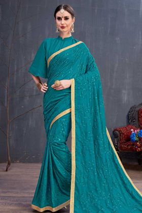 Teal Blue Latest Collection Party Wear Saree In Soft Cotton With Embroidery Work