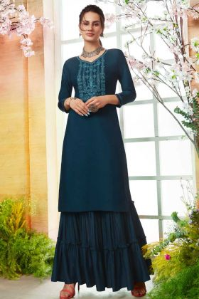 Teal Blue Readymade Sharara Kurta Set