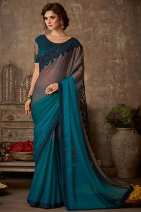 Teal Color Organic Silk Chiffon Designer Saree With Embroidery Work