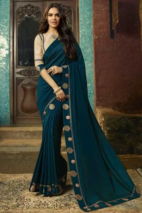 Teal Green Color Chanderi Designer Saree