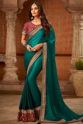 Teal Green Shaded Fancy Silk Designer Saree