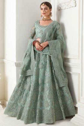 Teal Grey Color Net Designer Lehenga Choli With Cording Embroidery Work