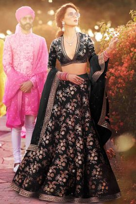 Thai Silk Party Wear Lehenga Black Color With Soft Net