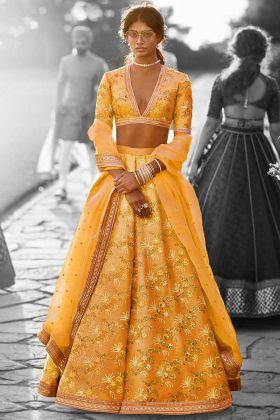 Thai Silk Wedding Lehenga Mustard Yellow Color