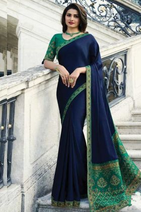 The Admirable Navy Blue Color Sana Silk Saree In Wholesale