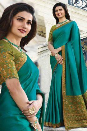 The Best Elegant Rama Green Color Sana Silk Saree Online