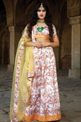 Thread Embroidered Satin Unstitched Lehenga In Offwhite