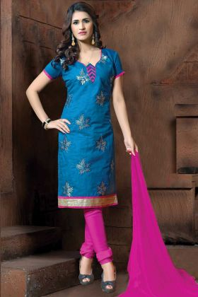 Thread Embroidery Blue Straight Suit