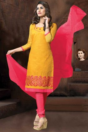 Thread Embroidery Yellow Straight Suit