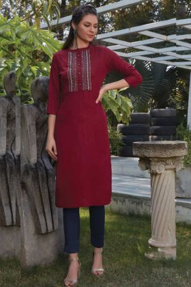 Thread Work Rayon Straight Kurti In Maroon