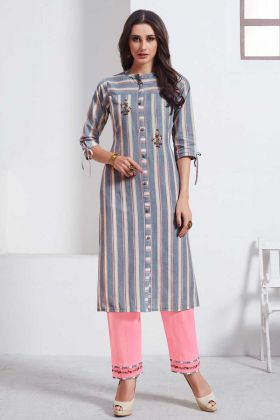 Thread Embroidered Work Cotton Weaving Kurti Grey Color