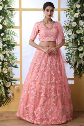 Thread Embroidery Pink Lehenga Choli In Net Fabric