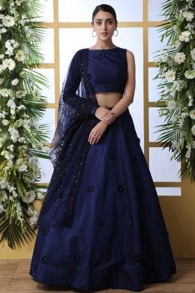 Thread Embroidery Taffeta Art Silk Navy Blue Lehenga Choli