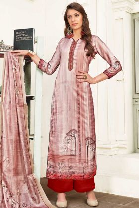 Thread Embroidery Work Baby Pink Color Modal Satin Palazzo Dress
