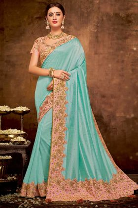 Thread Embroidery Work Blue Color Silk Georgette Designer Saree