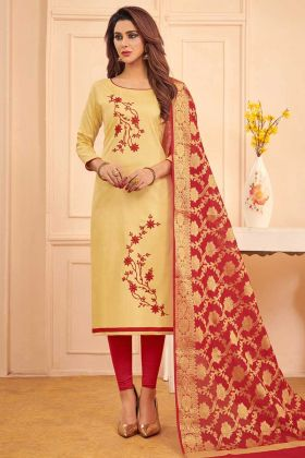 Thread Embroidery Work Cream Color Cotton Churidar Salwar Kameez