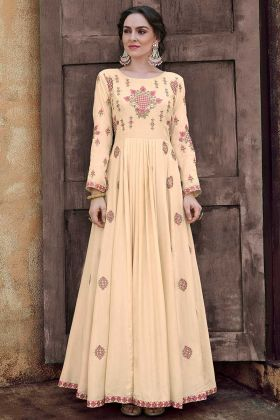 Thread Embroidery Work Cream Color Wedding Gown
