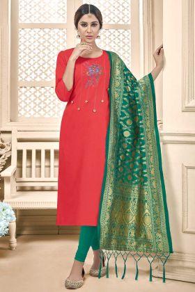 Thread Embroidery Work Christmas Red Color Cotton Slub Straight Salwar Kameez