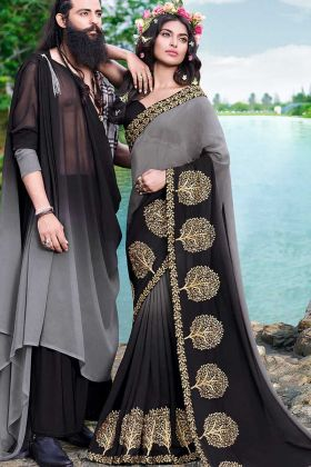Thread Embroidery Work Georgette Festival Saree In Grey and Black Color