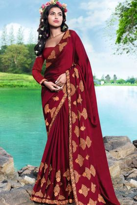 Thread Embroidery Work Georgette Wedding Saree In Maroon Color