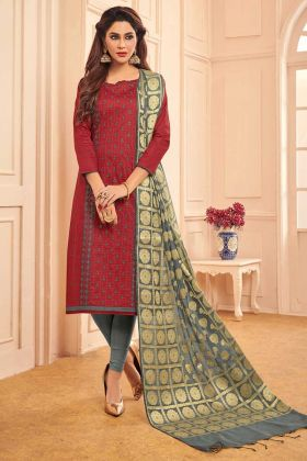 Thread Embroidery Work Maroon Color Cotton Straight Salwar Kameez
